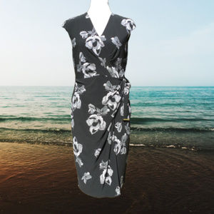 Floral Faux Wrap Dress Sleeveless Pullover Stretch